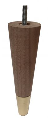 Agata Solid Walnut Tapered Furniture Legs with Brass Slipper Cups